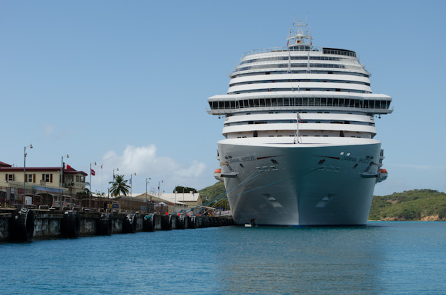 Carnival Breeze docked at the Havensight Cruise Terminal in St. Thomas. Photo © 2014 Aaron Saunders