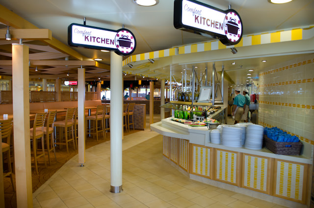 The Lido Marketplace on Deck 10 aft is divided up into several sections, based on food type. Photo © 2014 Aaron Saunders