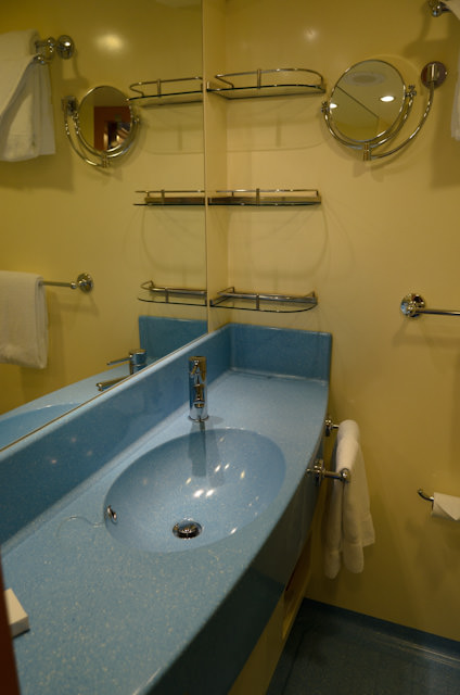 My stateroom bathroom. Basic, but well-designed. Photo © 2014 Aaron Saunders