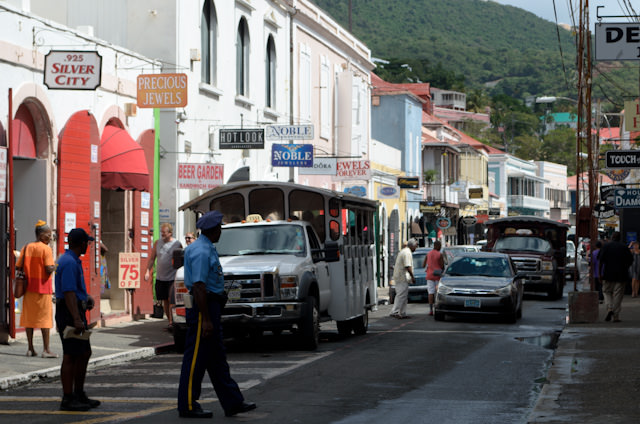 Congestion in Charlotte Amalie - from both cars and tourists - can pose some real issues when trying to maneuver. Photo © 2014 Aaron Saunders
