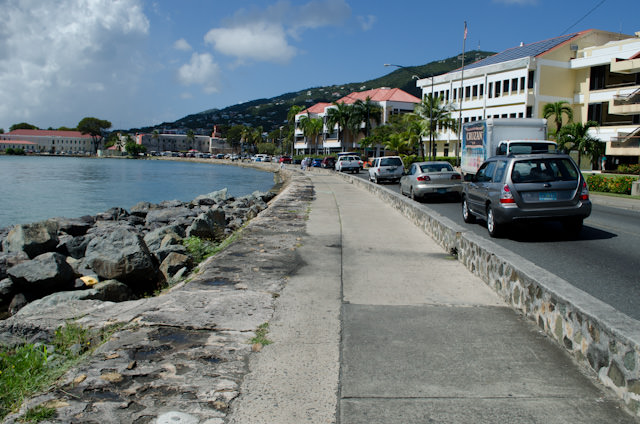 Heading into Charlotte Amalie. Just follow the path - it's an easy 15-minute walk from Yacht Haven Grande. Photo © 2014 Aaron Saunders