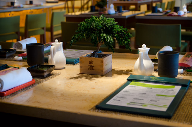 Decor and table settings at Bonsai Sushi. Photo © 2014 Aaron Saunders