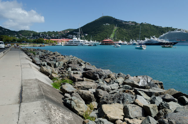 St. Thomas, as seen from the walkway into Charlotte Amalie. Carnival Breeze is visible to the right. Photo © 2014 Aaron Saunders