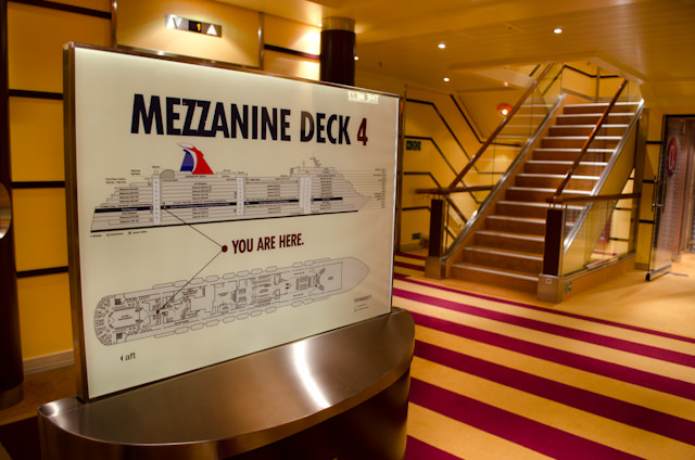 Getting around Carnival Breeze is a snap with these handy deckplans located in each elevator bank. Photo © 2014 Aaron Saunders