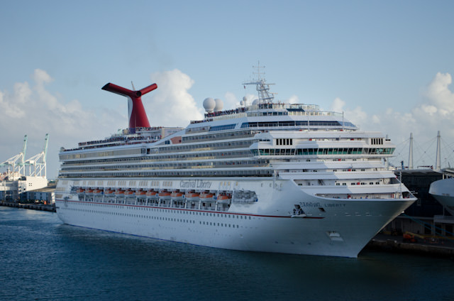 Carnival Liberty is seen on our departure from the Port of Miami. Photo © 2014 Aaron Saunders
