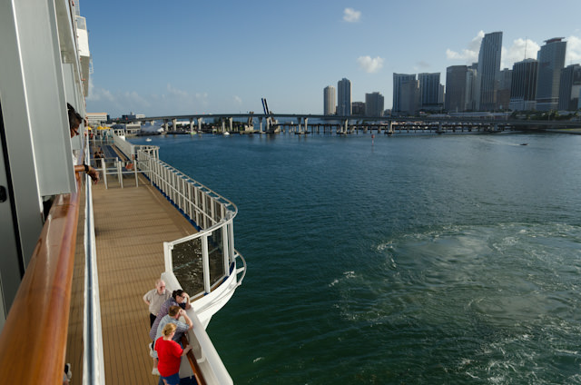 Spinning around in the turning basin at the Port of Miami, as seen from my balcony. Photo © 2014 Aaron Saunders