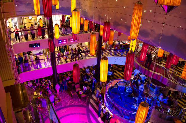 The first thing you see when embarking Carnival Breeze is the striking Atrium and Lobby Bar. It's gorgeous during the day - but even nicer at night!