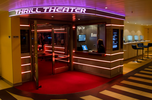 The Thrill Theater is located on Deck 4 amidships. I plan to check this out tomorrow! Photo © 2014 Aaron Saunders
