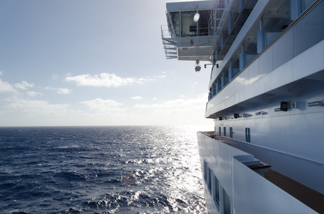 Sailing the Caribbean Sea aboard Carnival Breeze this morning, bound for Grand Turk. Photo © 2014 Aaron Saunders