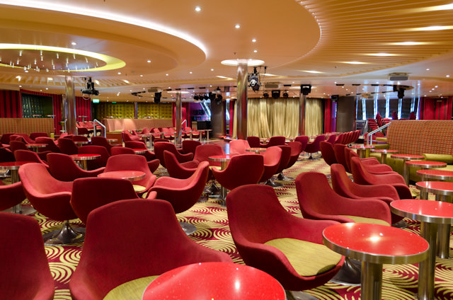 The Limelight Lounge is the location of Carnival's Punchliner Comedy Club aboard Carnival Breeze. Word of advice: arrive early; seating fills up fast! Photo © 2014 Aaron Saunders