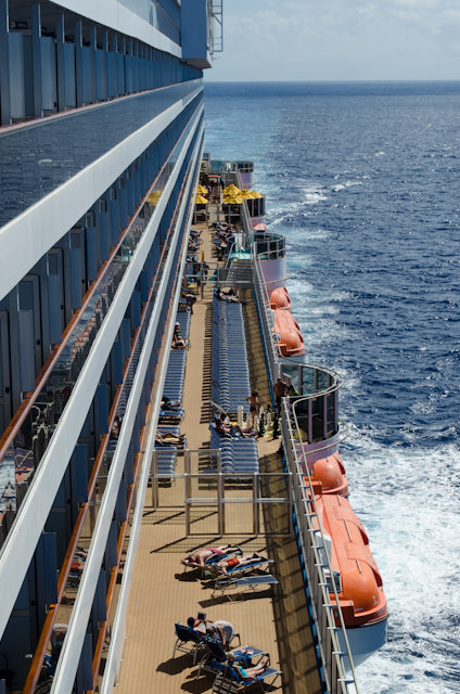 Looking out over the Lanai on Deck 5 from the Deck 9 forward observation point. Photo © 2014 Aaron Saunders