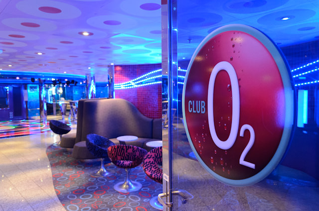 Carnival has three separate organized groups for kids, each with their own dedicated spaces onboard. Pictured here is the entrance to Club 02 on Deck 4. It is designed for teens aged 15-17. Photo © 2014 Aaron Saunders