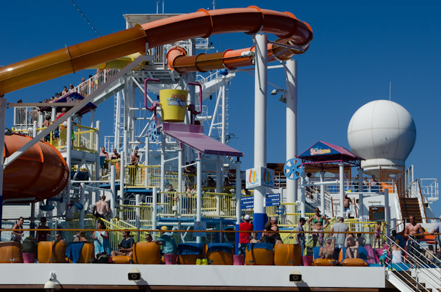 Once again, the pool deck - and associated Splash Park - were busy, busy! Photo © 2014 Aaron Saunders