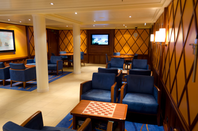 Tonight, whiskies and cognacs in the Library Bar on Deck 4 were on offer for $1 off. Photo © 2014 Aaron Saunders