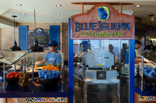 The BlueIguana Cantina on Deck 10 midships serves up tasty Mexican fare, made-to-order. It's also free of charge. Photo © 2014 Aaron Saunders