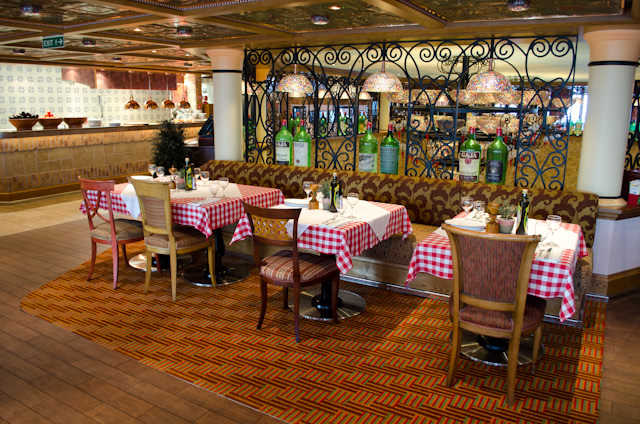 The Italian-themed Cucina del Capitano is tucked away on Deck 11. Adults can dine here for $12, or $5 for kids. Photo © 2014 Aaron Saunders