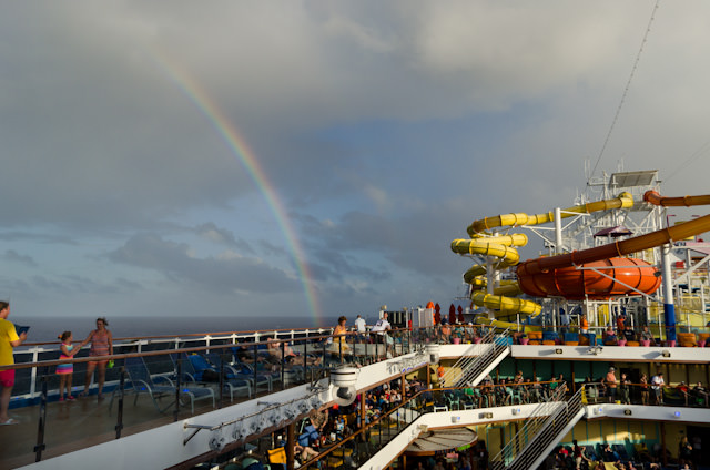 Superbowl kickoff was preceeded by a spectacular rainbow off our port side. Photo © 2014 Aaron Saunders