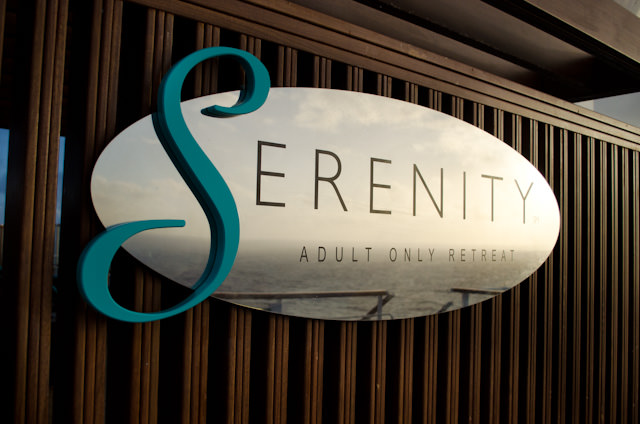 The Serenity is Carnival's Adults-only quiet spot onboard the Carnival Breeze. It's located on Deck 15 forward. Photo © 2014 Aaron Saunders