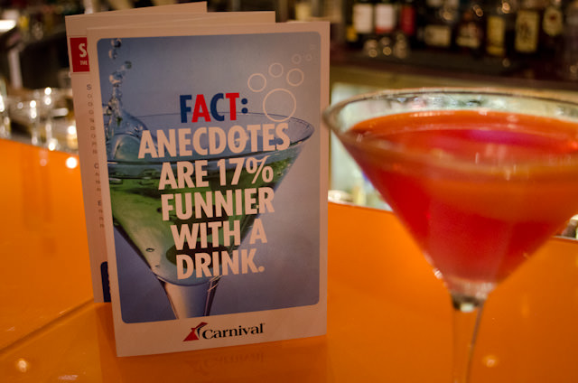 Enjoying an after-dinner martini. I'm not sure if the bar menu's saying is correct, but I sure hope so! Photo © 2014 Aaron Saunders