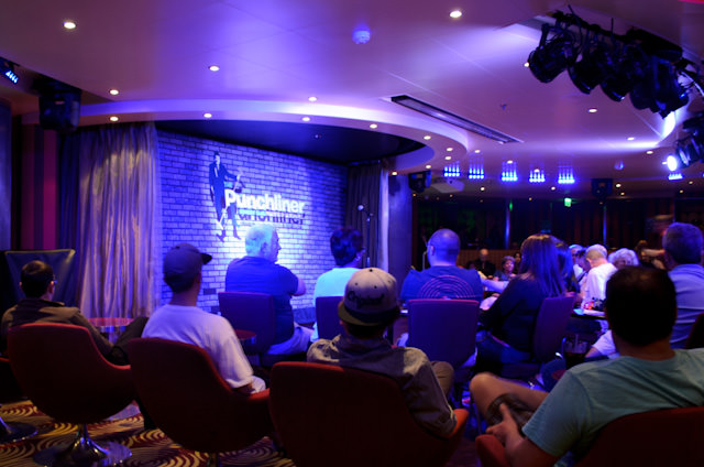 Guests wait for the laughs to begin in the Limelight Lounge. Photo © 2014 Aaron Saunders