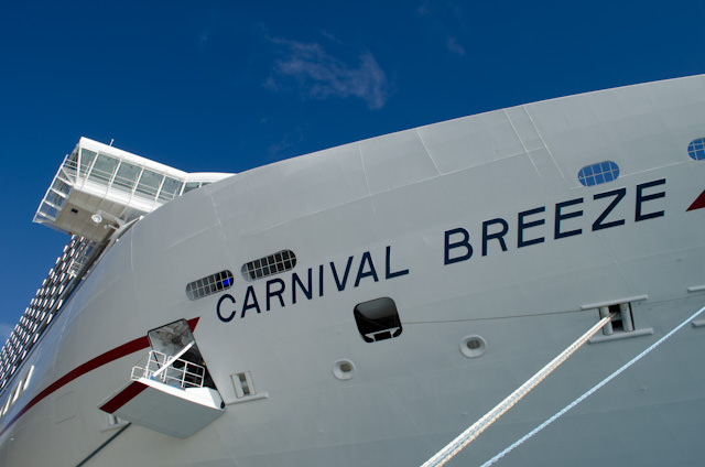 Carnival Breeze towers over Grand Turk as we enjoy our first port of call on our eight-day Eastern Caribbean cruise. Photo © 2014 Aaron Saunders