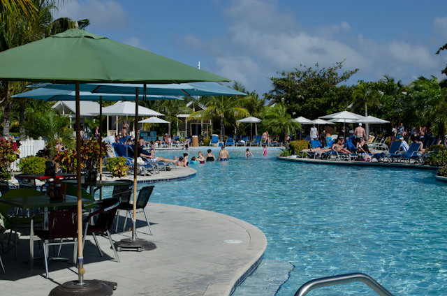 There's a large pool next to Margaritaville, complete with the mandatory swim-up bar. Photo © 2014 Aaron Saunders