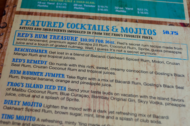 Looking over some of the many choices on the menu at the RedFrog Rum Bar on Deck 10. Photo © 2014 Aaron Saunders