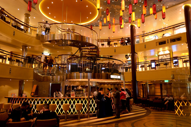 Guests are still enjoying themselves in the Lobby Bar on Deck 3, even after 11pm. Photo © 2014 Aaron Saunders