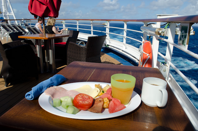 Just as I did every single day of the cruise, I took breakfast out on the aft portion of Deck 10 aboard Carnival Breeze on disembarkation day. Photo © 2014 Aaron Saunders