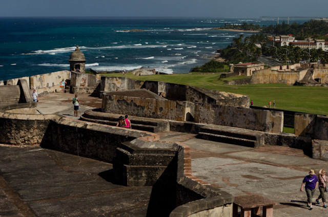 The fortress complex is massive. Plan on spending at least a few hours here exploring the grounds and admiring the Puerto Rican coastline. Photo © 2014 Aaron Saunders