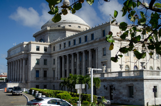 San Juan's Capitol Building is the only one in tow to face North - towards the United States. Photo © 2014 Aaron Saunders