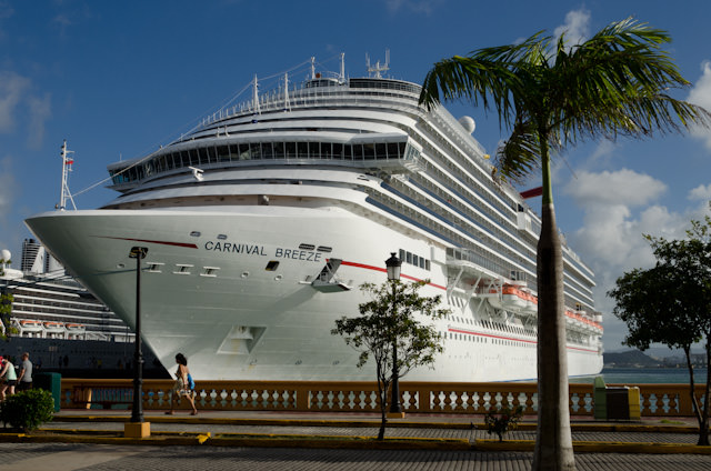 Carnival Breeze towers over San Juan, Puerto Rico on February 4, 2014. Photo © 2014 Aaron Saunders