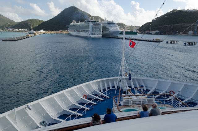 Carnival Breeze arrives in St. Maarten just before 8am this morning. Photo © 2014 Aaron Saunders