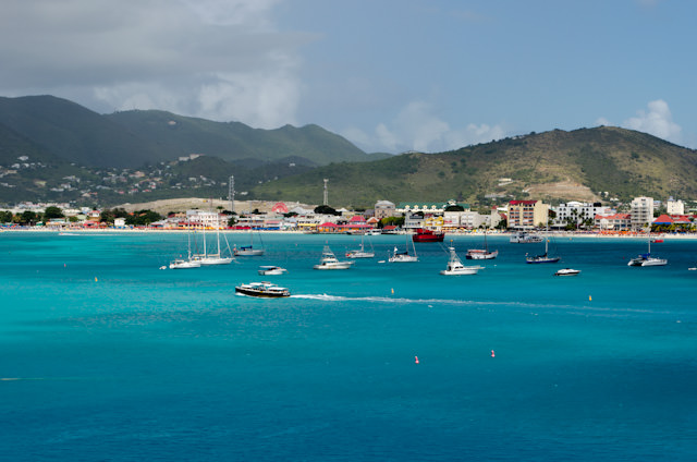 Looking toward Philipsburg from the cruise terminal. Note the water taxi traveling from right to left. Photo © 2014 Aaron Saunders