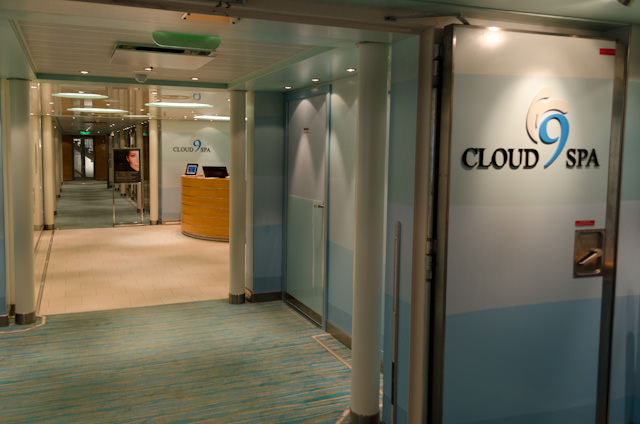 Rather than go ashore, I decided to have a spa day at the Cloud 9 Spa on Deck 12. Photo © 2014 Aaron Saunders