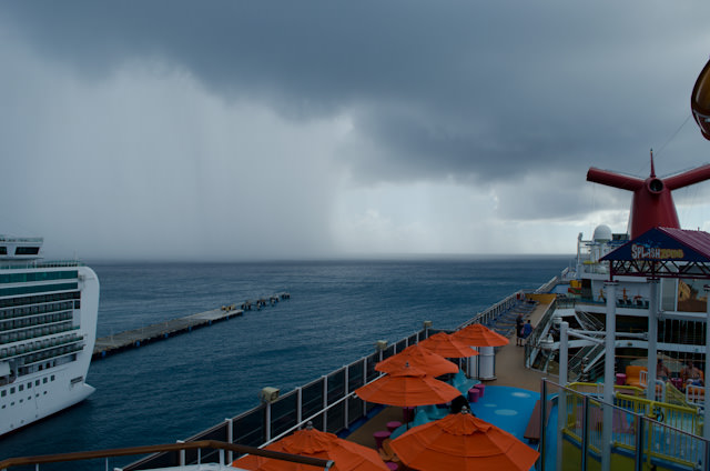 In Philipsburg, yu can literally see the storms coming. Photo © 2014 Aaron Saunders