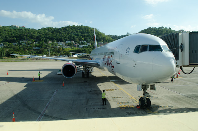 My Air Canada rouge Boeing 767-300 at the gate at Montego Bay's Sangster International Airport. Photo © 2014 Aaron Saunders