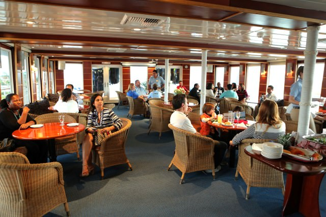 The main Lounge aboard Safari Voyager looks casual and inviting. Photo courtesy of Un-Cruise Adventures.