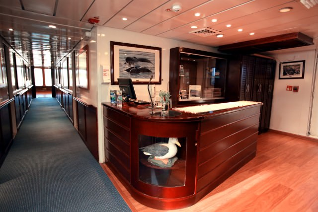 Safari Voyager underwent an extensive refurbishment prior to entering service with Un-Cruise in late 2013, and it shows in this photograph of the ship's Reception Area. Photo courtesy of Un-Cruise Adventures.