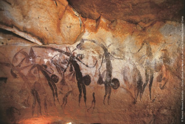 Ancient cave art. Photo courtesy of Silversea / Tourism Western Australia