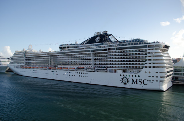 MSC Divina at port in Miami, Florida. Photo © 2014 Aaron Saunders