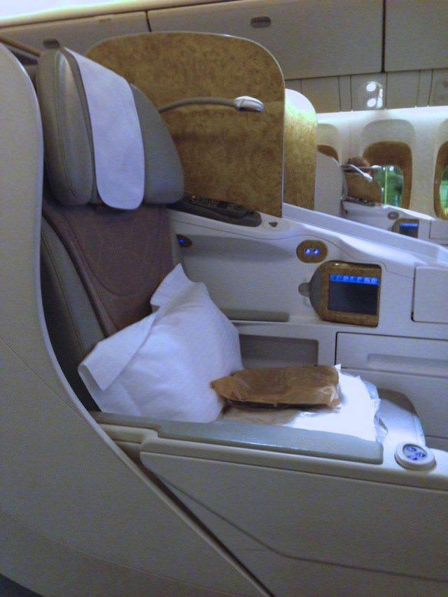Emirates usiness Class seat on the Boeing 777-300ER