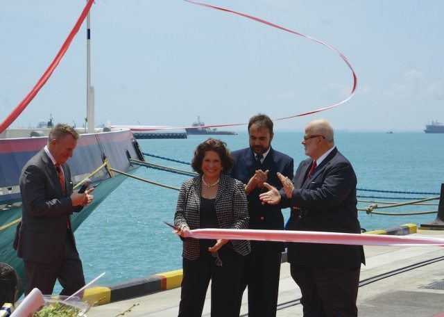 Cutting the ribbon. Pictured from left Steve Odell, Silversea Cruises President Europe, Africa, Middle East & Asia-Pacific; Godmother Elda Turco Bulgherini; Captain Luksa Plecas, Master, Silver Discoverer; and Silversea Cruises Chairman Manfredi Lefebvre D'Ovidio. © 2014 Ralph Grizzle