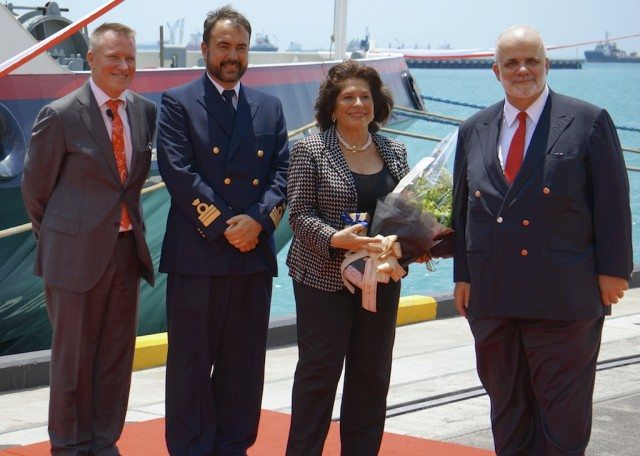 Pictured from left Steve Odell, Silversea Cruises President Europe, Africa, Middle East & Asia-Pacific; Captain Luksa Plecas, Master, Silver Discoverer; Godmother Elda Turco Bulgherini; and Silversea Cruises Chairman Manfredi Lefebvre D'Ovidio. © 2014 Ralph Grizzle