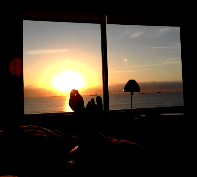 Sunrise over the Atlantic Ocean from my suite at the South Seas Hotel.