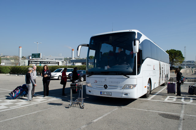 Our brand-new Viking River Cruises motorcoach waiting at Marseille Airport. The coach - a Mercedes-Benz - was brand new. Photo © 2014 Aaron Saunders