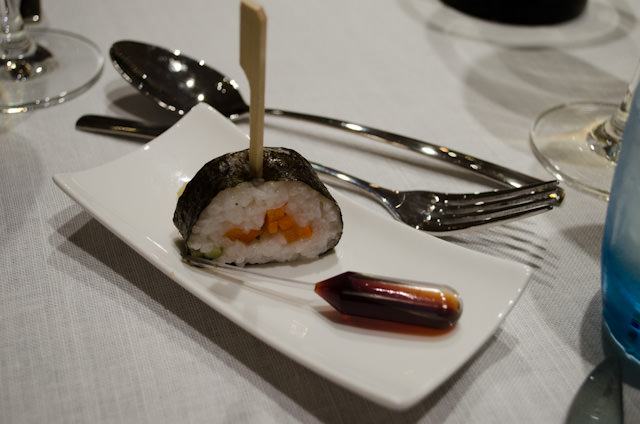 One of the most interesting amuse bouche dishes: sushi with a vial of soy sauce. Photo © 2014 Aaron Saunders