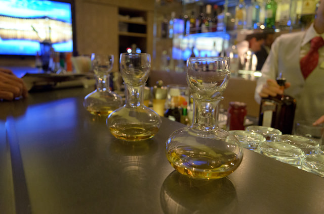 One of my favorite parts of any Viking cruise: the amazing Aquavit, enhanced by the artistic decanters. Photo © 2014 Aaron Saunders