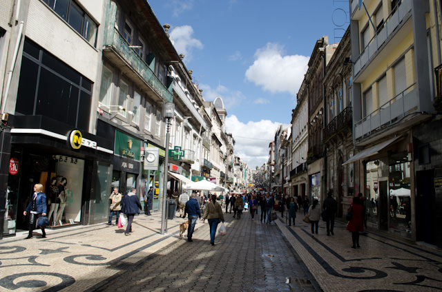 Porto's main shopping district is a vibrant array of shops of all kinds. Photo © 2014 Aaron Saunders