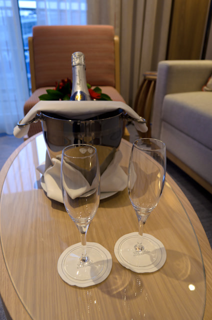 Champagne in Category AA Veranda Suite 308. Photo © 2014 Aaron Saunders